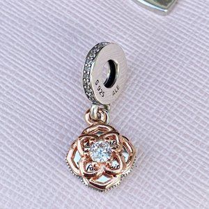 PANDORA Two-tone Rose Dangle Charm